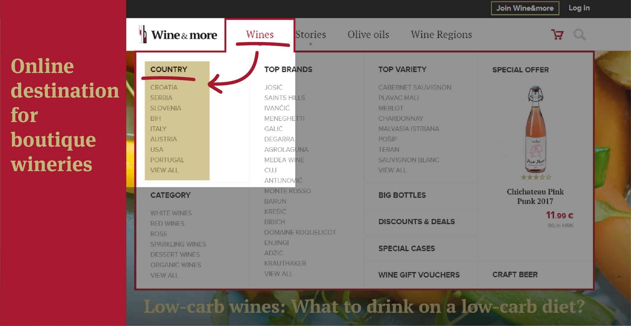 Online destination for boutique wineries