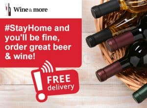 You stay at home, we deliver wine and beer to your door, free of charge
